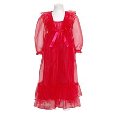 Laura Dare Girls 7 Red Frilly Peignoir 2pc Robe Nightgown Set. 2pc set. Sheer Robe and nightgown.