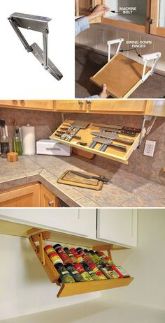 15 Cool Uses of Space Between Countertop and Wall Cabinet - HomeDesignInspired Tiny House Storage, Diy Kitchen Storage, Kitchen Redo, Home Decor Kitchen, Kitchen Furniture, Home Kitchens, Kitchen Remodel, Kitchen White, Smart Storage