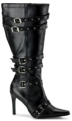 8386f70816b Plus Size Wide Width Black Wide Calf Boot with Buckles - Sexy black 3 3