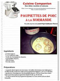 PAUPIETTE DE PORC A LA NORMANDE Diners, Robots, Eve, Cooking Recipes, Meat, Restaurants, Robot, Food Dinners, Dinners