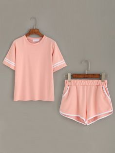 Shop Pink Striped Trim Top With Contrast Trim Pockets Shorts online. SheIn offers Pink Striped Trim Top With Contrast Trim Pockets Shorts & more to fit your fashionable needs.