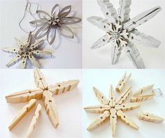 Snowflake ornaments made of wooden clothespins