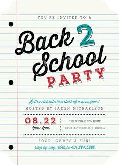 School Paper Party Back to School Invitation