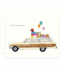 Station Wagon Birthday Card