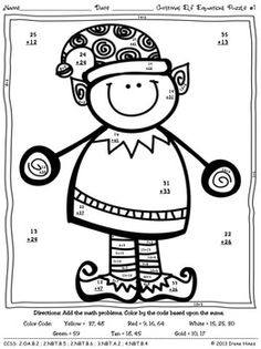 CHRISTMAS ELF EQUATIONS ~ CHRISTMAS ADDITION MATH COLOR BY THE CODE PUZZLES - TeachersPayTeachers.com