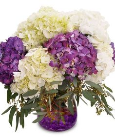 Posh Purple - Simple, but impressive, this arrangement features purple and white hydrangea blossoms. Designed in a glass cylinder and accented with purple gems inside the vase. #KittelbergerFlorist #RochesterFlowers