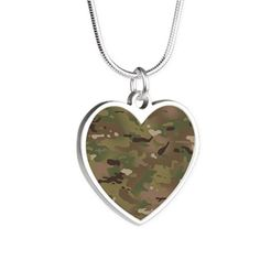 cc909e0209f Military Camouflage Pattern Silver Heart Necklace on CafePress.com Army  Gifts, Military Gifts,
