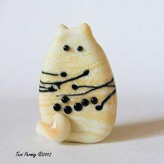 Cat Bead Handmade Lampwork Focal  Brock FatCat by TeriPersing, $12.00