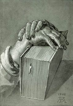 Hand Study with Bible, 1506, by  Albrecht DÜRER (Artist. Germany, 1471-1528). Style: Northern Renaissance.  Genre: sketch and study.   More on the artist:  http://en.wikipedia.org/wiki/Albrecht_D%C3%BCrer  © Graphische Sammlung Albertina, Vienna, Austria.  Museum site:  http://www.albertina.at/index ... If you like the art, credit the artist & link directly to museum site. Promote our MUSEUMS (where funding is often iffy). Give credit where due.