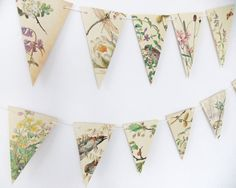 Spring and Summer Paper Garland, eco-friendly banner, up-cycled bunting, wedding pennants, wedding decor by PeonyandThistle on Etsy (null) Garland Wedding, Wedding Decorations, Paper Bunting, Paper Garlands, Heart Garland, Yellow Doors, Gift Table, Paper Hearts, Garlands