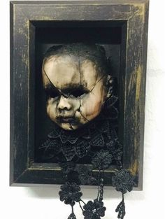Creepy doll shadow box #halloweendecorations #creepydoll