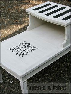End Table Redo: Stripes & a Stencil