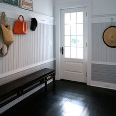 Love the horizontal board & beadboard walls, love the crisp moldings, love the Shaker pegs! Love the horizontal board & beadboard walls, love the crisp moldings, love the Shaker pegs! Interior Exterior, Interior Design, Underground Living, Bead Board Walls, Basement Makeover, Basement Ideas, Basement Gym, Basement Renovations, Shaker Style