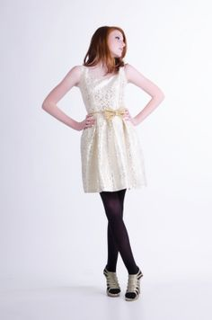 Silver and Yellow Metallic Brocade Lace Dress by allfieruth, $130.00