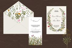 Wedding set. Wild Flowers. Boho by olga.korneeva on @creativemarket