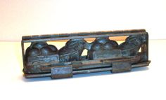 Old Easter Rabbits Pulling Egg Carts Double Metal Alloy Chocolate Candy Mold by theantiquechasers on Etsy