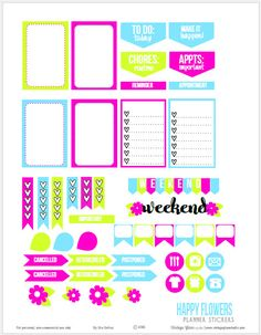 Free printable download with a set of bright hued planner stickers suitable for vertical weekly planners and other types of papercraft.