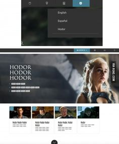 #HODOR, the HBO GoT Website is now available in English, Spanish and Hodor.