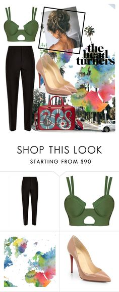 """""""olive green"""" by break-my-wings on Polyvore featuring Jaeger, WALL, Christian Louboutin and Gucci"""