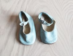 Vintage Powder Blue Baby Shoes Made in England