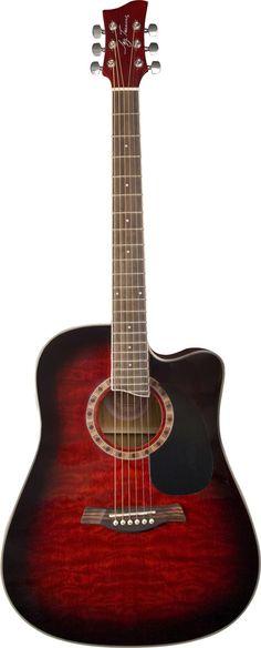 Jay Turser JTA 454 QCET Series Acoustic Guitar Red Sunburst