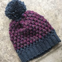 A personal favorite from my Etsy shop https://www.etsy.com/listing/542716536/navy-purple-puff-stitch-beanie-winter