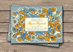 """Alyssa Vintage Flowers Bridal Shower Invitation, 5x7"""" Printable. Golden Yellow and Blue Large Watercolor Floral Frame. Printable or I Print."""