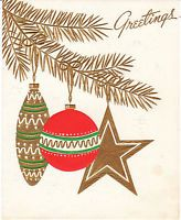 Vintage Christmas Card Mid Century Ornaments on Gold Tree USA