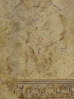 "Royal Design Studio's Florentine Damask Stencil in a beautiful silver & gold ""filigree"" sample finish by Rebecca Slaton of Surfaces Fine Paint & Decorative Arts Studio."