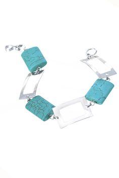 Turquoise Squares Silver Bracelet.