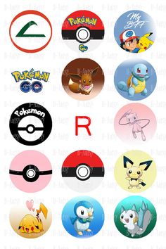 Pokemon Bottle Cap Images Instant Download by BeArtsyBoutique