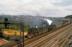 Pennsy 2-10-4's #6432 and #6456 double-head a mixed freight through western Pennsylvania circa 1956.