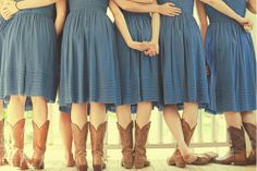 This would be perfect for a rustic wedding.  Love the cowboy boots with the dresses.  Went to a wedding recently where the bridesmaids wore cowboy boots and the guests sat on bails of hay covered in material.  Very cool. #rustic wedding, #bridesmaid dress
