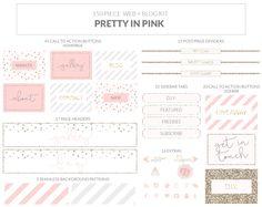 150 Piece Blog Web Kit Brand Kit Web Blogger Wordpress Branding Board Kit Pink Glitter Elements by MacaronsandMimosas