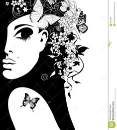 Silhouette Of A Woman With Flowers And Butterflies Stock Photo ...