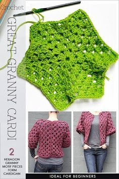 Hexagon Granny Cardi | super easy,fast and fun to crochet | Free pattern for hexagon granny motif