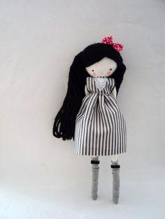 Handmade rag doll , Maria - ooak cloth art rag doll black and white stripes dress, bow and socks on Etsy, $44.00