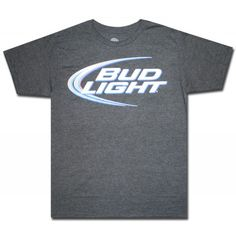 affac6526a109d Anhueser Busch brings this charcoal colored t-shirt with an ultra soft  polyester cotton blend for softness and comfort featuring the Bud Light  swoosh logo.
