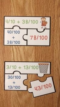 Adding Fractions with Denominators 10 and 100 Puzzles CCSS serve as a… 4th Grade Math Games, 4th Grade Classroom, Math Tutor, Fun Math, Fourth Grade, Classroom Ideas, Fraction Games, Fraction Activities, Math Resources
