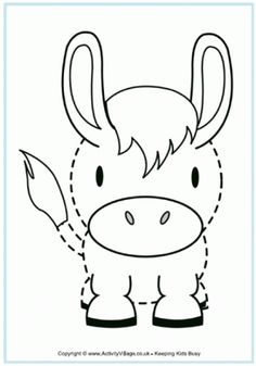 Donkey Tracing - free printables for kids/children canvas painting.