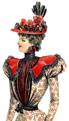 Black adds a distinguishing touch to this Victorian hat from the late 1890s as it is introduced in the insertions of black lace on the brim, and again in the tower of black ostrich feathers exploding from the back of the hat. Bunches of red flowers are artistically positioned on the crown.