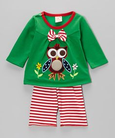Look what I found on #zulily! Green Owl Top & Stripe Pants - Infant & Toddler by the Silly Sissy #zulilyfinds