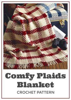 Love! Crochet this Comfy Plaids Blanket in your school colors. Plaid Afghan Crochet Blanket Pattern - PDF Instant Download - Fringe Afghan Striped Lap Blanket - Fringe Tartan Throw - Digital Pattern #crochet #crochetpattern #ad #blanket #afghan #diy