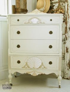 Antique French Highboy Chest of Drawers Gets a Glam Makeover by Prodigal Pieces | Modern Masters Champagne Metallic Paint