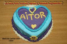 Tarta para Aitor que hice el 10-01-2013. Me dijo que era la mejor tarta que había tenido en su vida!!! Espero vuestras opiniones!!! — en Mutxamel, Alicante, España. María del Carmen Ortín López