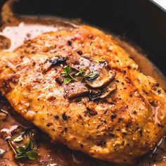 Stuffed Chicken Marsala Instead of cutting a pocket in the chicken, I used two pieces of chicken (pounded) on top of one another. After seasoning the chicken with salt, pepper, & Italian Seasonings (BOTH. Meat Recipes, Dinner Recipes, Cooking Recipes, Healthy Recipes, Salmon Recipes, Cooking Fish, Cooking Bacon, Gourmet Recipes, Dinner Ideas