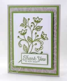 SRC - features Stampin Up's Flourishing Phrases stamp set. Neat technique combines ink and die cut for shadow effect. Making Greeting Cards, Greeting Cards Handmade, Stampin Up Anleitung, Thanks Card, Stamping Up Cards, Get Well Cards, Sympathy Cards, Scrapbook Cards, Scrapbooking Layouts