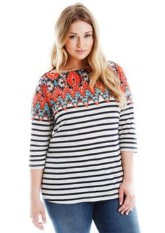 Lucky Brand  Plus Size Stripe Boatneck Top