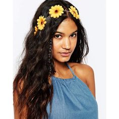 ASOS Sunflower Headband (93 DKK) ❤ liked on Polyvore featuring accessories, hair accessories, yellow, yellow headband, floral headband, hair band headband, hair bands accessories and sunflower headband