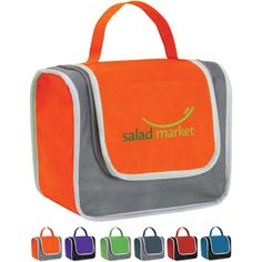 """Poly Pro Lunch Box...Don't worry about mistaking your lunch bag again! With this practical and stylized promotional product you have 4 color combinations from which to choose. Roomy design is perfect for salads, sandwiches and a nice cold beverage. Features Non-woven polypropylene with Mylar (R) lining lunch box with front pocket, zippered closure and 8"""" self handle. Perfect for a camping expedition, trip to the beach or picnic in the park. Measures 9""""W x 5""""D x 6.5""""H."""